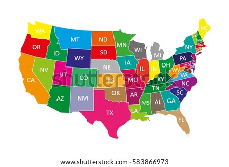 Large Detailed Map United States America Stock Vector - Us map initials