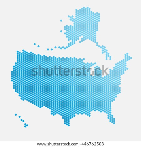 USA map of blue gradient hexahedrons