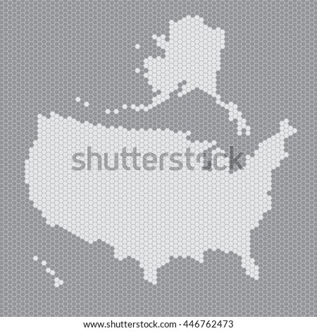 USA map of gray hexahedrons