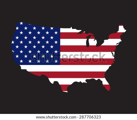 Usa Map Flag D Render On Stock Illustration Shutterstock - Us map with glag