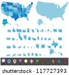USA Map Set with gps icons - stock vector