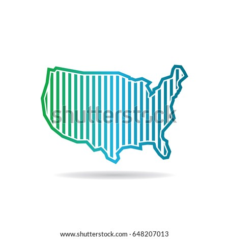 American Map Icon Outline Illustration American Stock Illustration - Us map icon