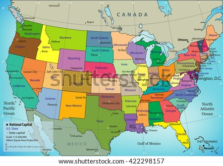 Colorful Usa Map States Capital Cities Stock Vector 122815633