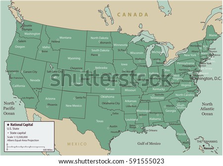 Usa Map States Capital Cities Vector Stock Vector - A us map with states and capitals