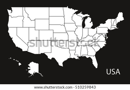 Usa Map United States America Greyscale Stock Vector - Map of us vector