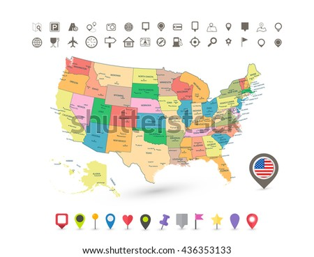 Usa Map With Flag And Navigation Icons Isolated On White