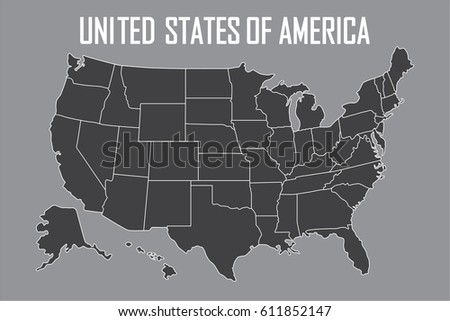 Usa Map With State Boundaries Blank Black Contour Isolated On Gray Background Vector Ilration