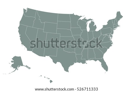 Outline Map Usa Isolated Vector Illustration Stock Vector - Us map with state boundaries