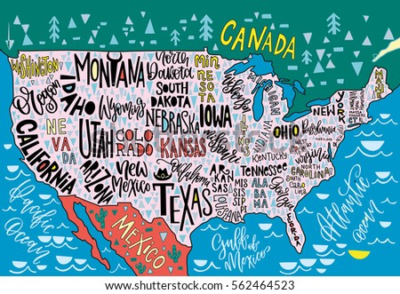 Usa Map States Pictorial Geographical Poster Stock Vector - Hand drawn us map vector