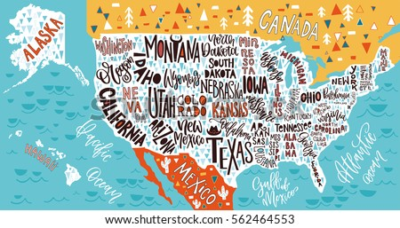 Usa Map States Pictorial Geographical Poster Stock Vector - Usa amap