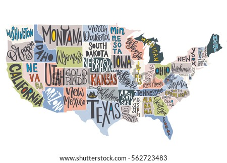 Usa Map States Pictorial Geographical Poster Stock Vector - Usa maps with states