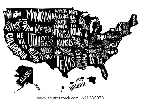 Poster Map United States America State Stock Vector - Us map graphic