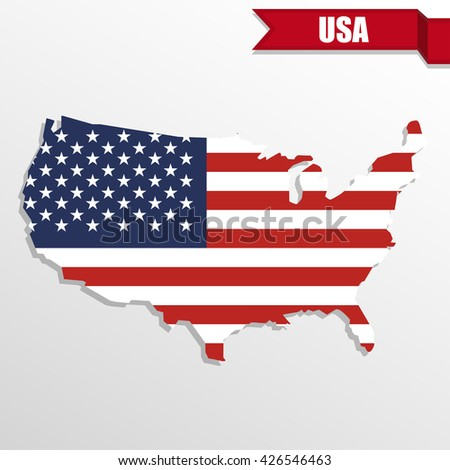 American Flag Design Usa Map Stock Vector Shutterstock - Us map with glag