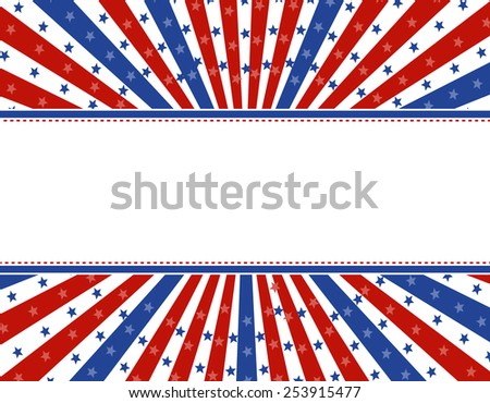 USA patriotic 4th of July background design with stars and stripes with star burst