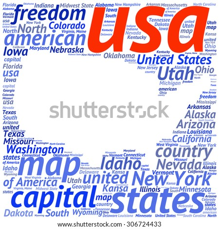 Usa State Map Tag Cloud Vector Ilration