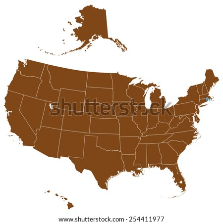 USA state Of map - Rhode Island