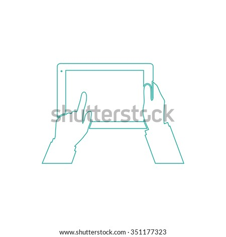 Use Tablet Outline vector icon on white. Line symbol pictogram
