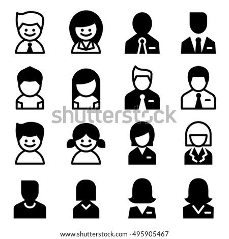 User , Avatar, man , woman, businessman  Icon set