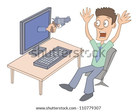 User is frightened by virtual gun