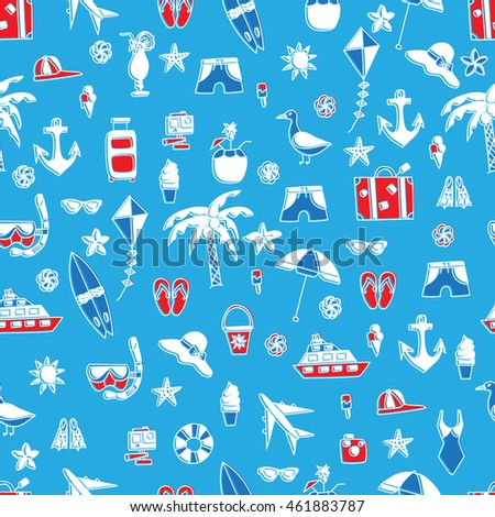 Vacation doodles seamless pattern