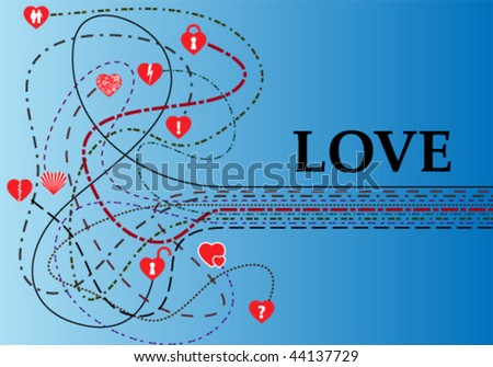 valentine card with complex strings and caption love