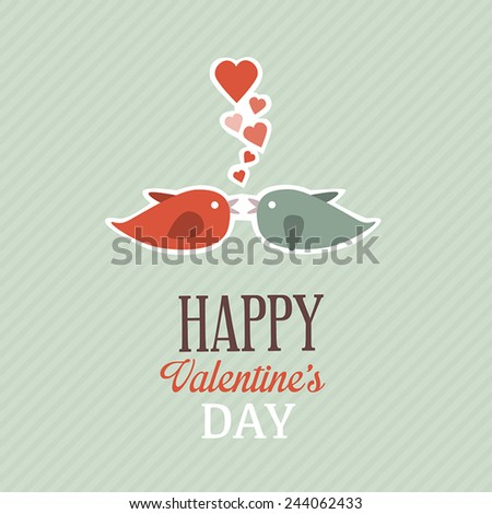 Valentine card with cute birds.