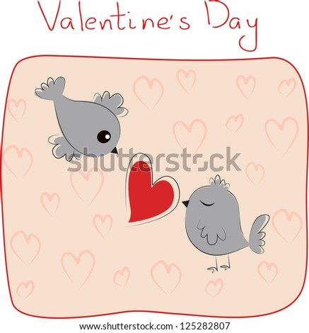 valentine card with two birds in love