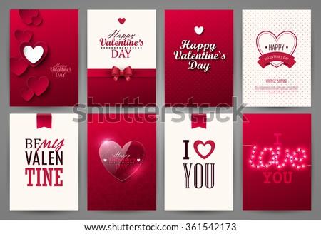 valentine cards set vector illustration