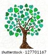 Valentine day hand-drawn love tree made of hearts background. Vector illustration layered for easy manipulation and custom coloring. - stock vector
