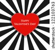 Valentine's day card with black and white stripes and red heart. - stock photo