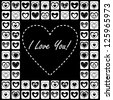 Valentine's Day Greeting Card with Bricks of Hearts on Black Background, Vector Version - stock vector