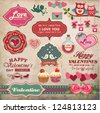 Valentine's day labels, icons elements collection - stock