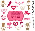 Valentine's Day Party set - Photo Booth props - glasses, hats, lips, mustaches, masks - in vector - stock vector