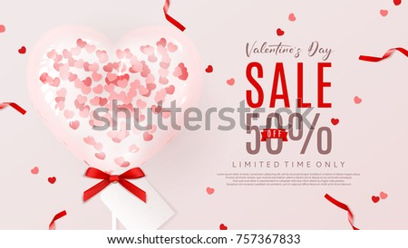 valentines day sale web banner beautiful background with realistic transparent pink air balloon with confetti - Valentine Sale