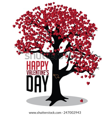 Valentine's Day tree of hearts with heart-shaped red leaves and a heart carved into the trunk EPS 10 vector royalty free stock illustration for ads, poster, flier, signage, promotion, greeting card,