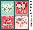 Valentine's day vector cards with greetings and sending love. - stock photo
