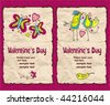Valentine's day vintage paper backgrounds series 1 - stock vector