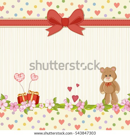 Valentines day card .Greeting card with teddy bear in love