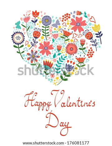 Valentines day card with floral heart