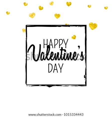 Valentines day card gold glitter hearts stock vector 796140700 valentines day card with gold glitter hearts february 14th vector confetti for valentines day colourmoves
