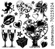 Valentines Day collection with Hearts, element for design, vector illustration - stock photo