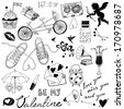 Valentines day hand-drawn symbols collection  - stock