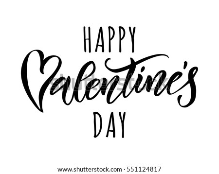 Valentines Day Card Love Calligraphy Lettering Stock