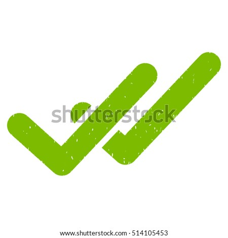 Validation rubber seal stamp watermark. Icon vector symbol with grunge design and unclean texture. Scratched eco green ink sticker on a white background.