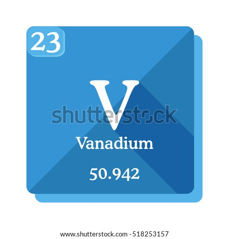 Symbol chemical element vanadium seen on stock vector - Vanadium symbol periodic table ...