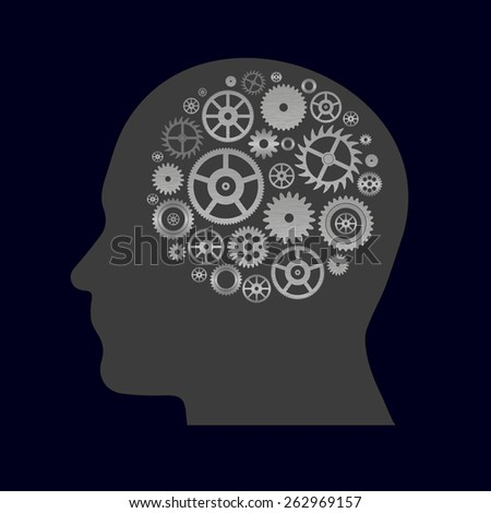 various cogwheels parts in human head - thinking eps10