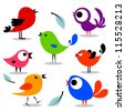 Various colorful birds set - stock vector