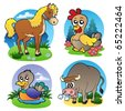 Various farm animals 2 - vector illustration. - stock vector