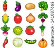 Various Fresh Vegetables Icon Set Illustration - stock vector