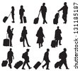 various isolated silhouettes of people travelling. Easily add colors to various areas of each figure. - stock vector